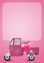 Van with pink ribbon for Breast cancer prevention