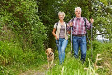 Paar Senioren macht Nordic Walking mit Hund