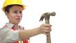 Happy Female Worker Passing Hammer