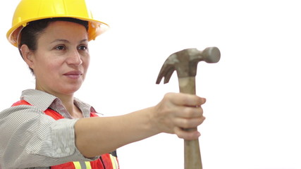 Happy Female Worker Passing Hammer