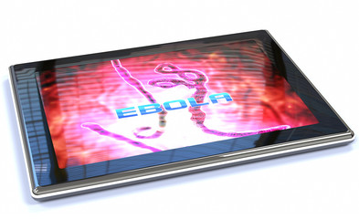 tablet with a image of ebola virus
