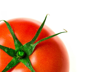 One fresh red tomato isolated close-up