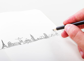 hand drawning travel landmarks