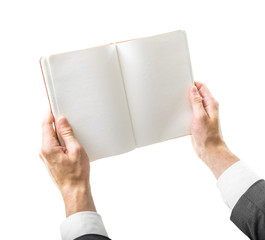 blank book in hands