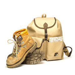 Vintage backpack and hiking boots