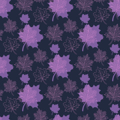 Seamless Autumn pattern:abstract purple and pink leaf,leaf fall,