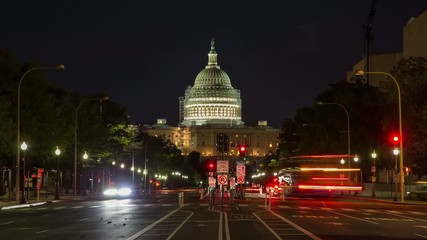 Washington D.C. Capitol and street at night