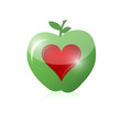 green apple red heart illustration