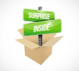 box surprise inside sign illustration