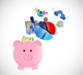 piggy bank business concept illustration