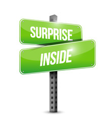 surprise inside sign illustration design