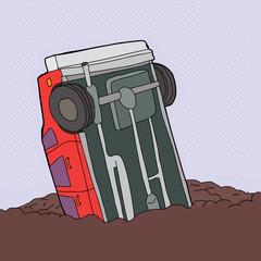 Crashed Red Car