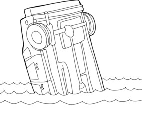 Outline of Car in Water