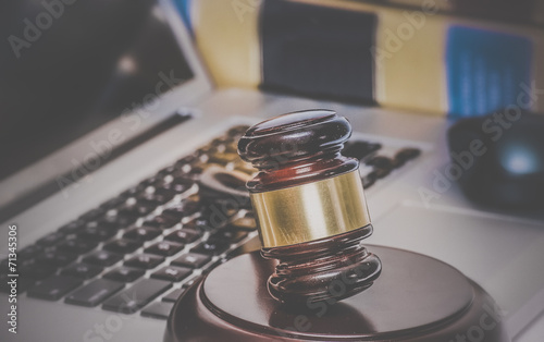 Law legal concept gavel on computer  legal books - 71345306