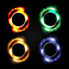 Set of 4 illustration of digital flare frame in circular frame
