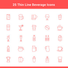 Set of Thin Line Stroke Beverage Icon Vector Illustration
