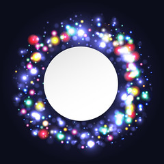 illustration of digital flare frame in circular frame with note