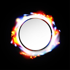 illustration of digital flare frame in circular frame with notes