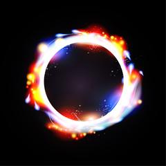 illustration of digital flare frame in circular frame