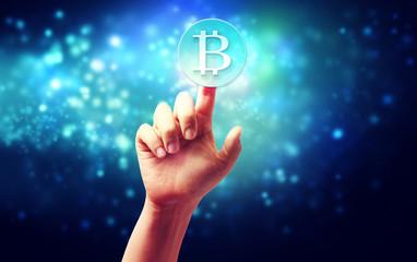 Bitcoin with hand