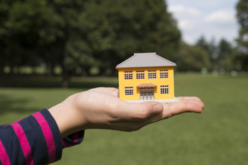 Hand holding a model of the house