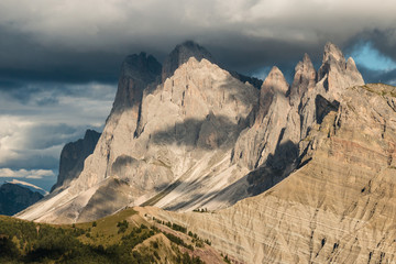 sunset over Geisler group mountains in Dolomites