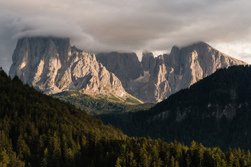 sunset over Sassolungo group in Dolomites