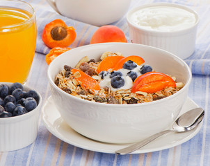 Muesli with yogurt and berries . Healthy breakfast .