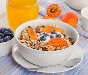 Muesli with yogurt and fresh berries . Healthy breakfast .