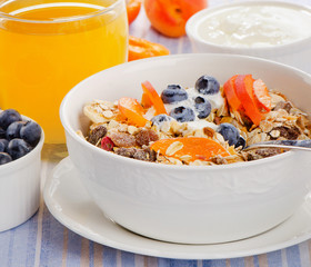 Muesli with yogurt  and berries.Traditional healthy breakfast .