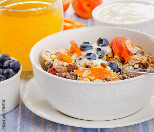 canvas print picture Muesli with yogurt  and berries.Traditional healthy breakfast .