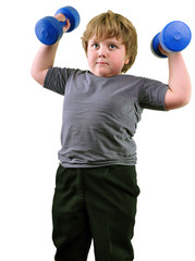 isolated portrait of elementary  boy with dumbbells exercising