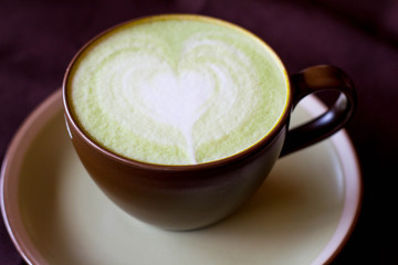 Matcha Latte Cup of green tea and water