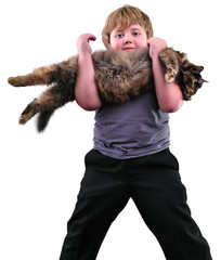 Cute blond boy with a cat over white