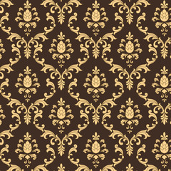 Brown and Gold Damask Pattern