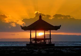 sunset in bali beach