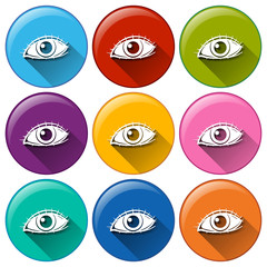 Round icons with eyes