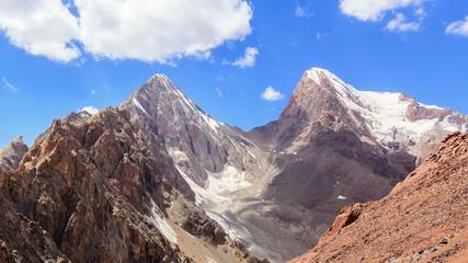 Peak Energy and Chimtarga. Zoom. TimeLapse. Fans, Tajikistan. 4K