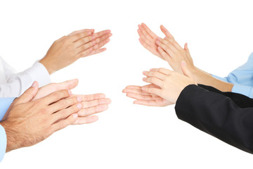 Clapping hands isolated on white