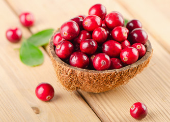 Cranberries  on wooden background