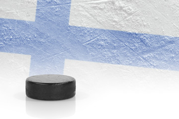 Hockey puck and the Finnish flag