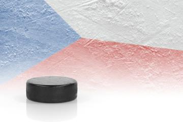 Hockey puck and a Czech flag