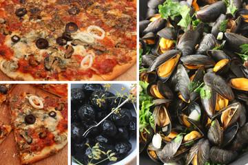 Pizza aux fruits de mer -  Moules Calamar Olives