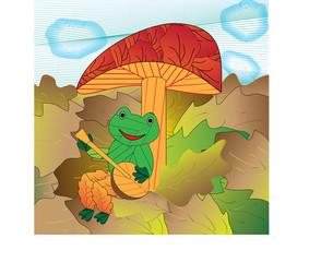 frogs song under mushroom
