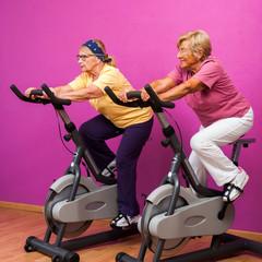 Senior ladies at spinning session.