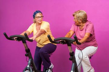 Happy senior ladies in gym.