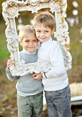 portrait of two little boys  in a Christmas style