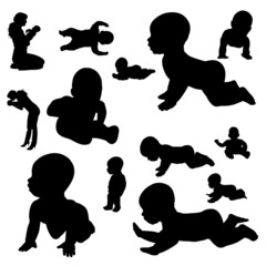Vector silhouette of a toddler.