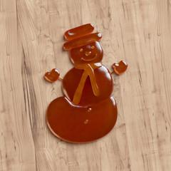 Snowman cookie made of honey (Christmas Souvenir)