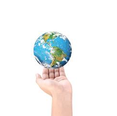 Man holding global